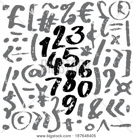 Hand drawn vector alphabet. Letters written with a brush. Black and gray on white background.