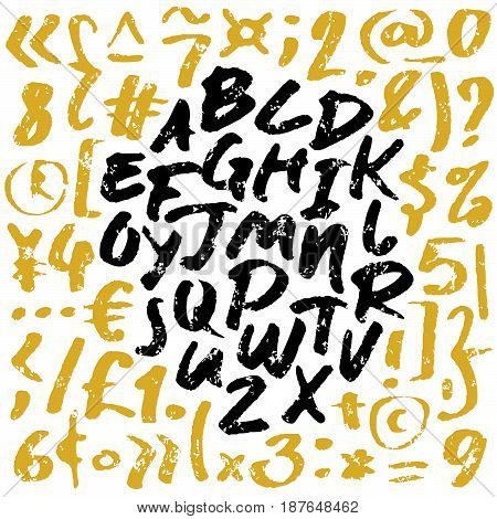 Hand drawn vector alphabet. Letters written with a brush. Black and gold on white background.