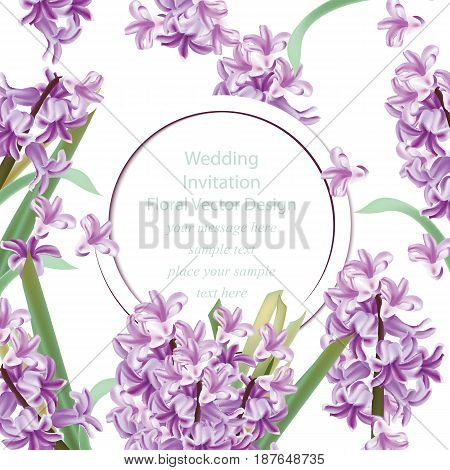 Wedding invitation with Lily flowers. Spring Vector illustration violet color