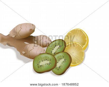 Lemon, ginger and kiwi for a fresh juice or detox smoothie. Vector illustration background