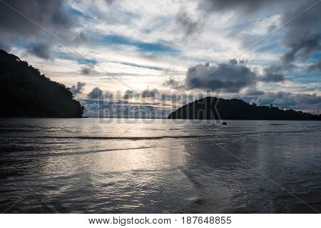 Scenery View. Beautiful Sunset Time At Shallow Sea Have Twin Island,cloud And Sky Are Background. Th