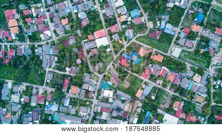 Aerial view of residential houses and driveways neighborhood landuse concept