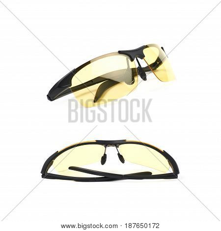 Pair of shade glasses isolated over the white background, set of two different foreshortenings