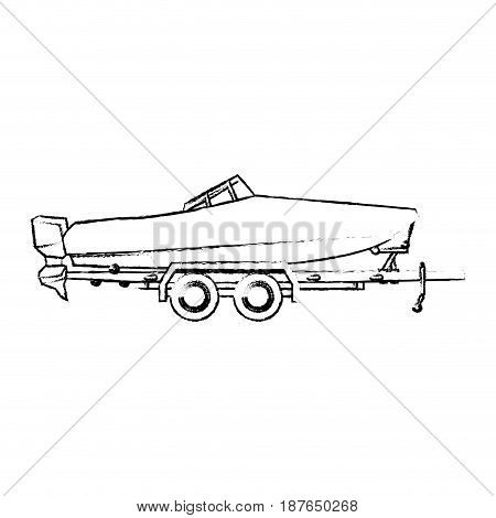 boat with trailer transport maritime image vector illustration