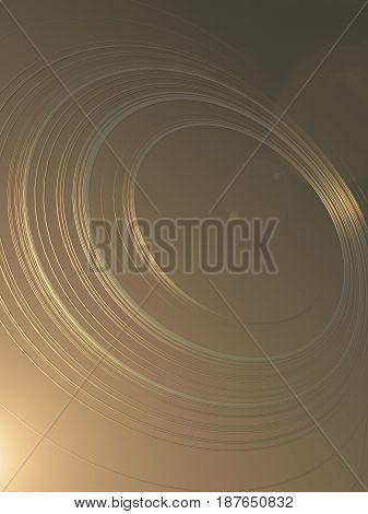 Simple and elegant composition of abstract gold shiny shapes streaks with volumetric light. 3d rendering
