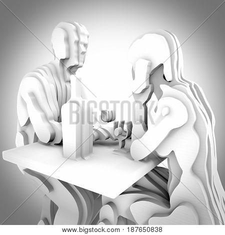 Abstract art. White sliced couple having romantic dinner. 3d rendering