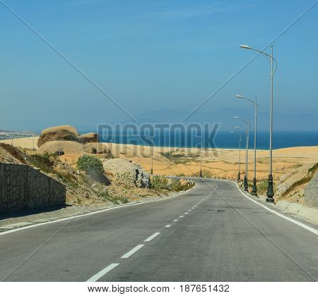 National Road With White Sand Dune