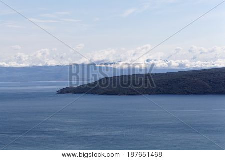 View on the Kvarner Gulf a part of the Mediterranean Sea in Croatia.