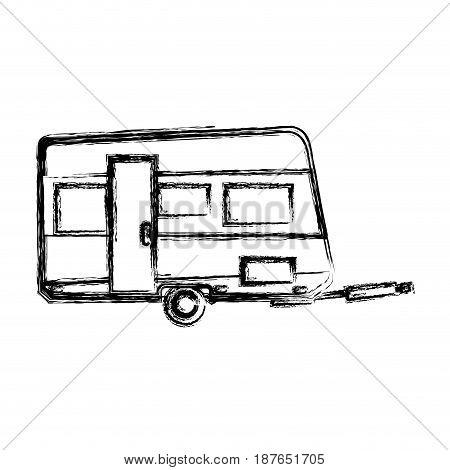 trailer camping vehicle home transport sketch vector illustration