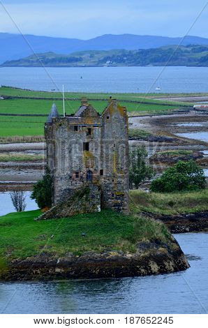 Tower ruins of Castle Stalker in Scotland.