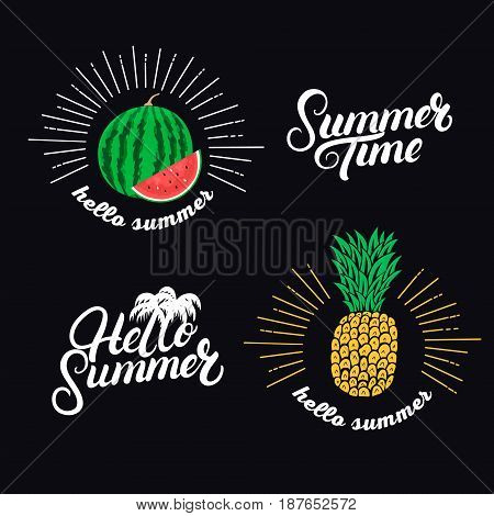 Hello summer set. Hand written lettering quotes and hand drawn pineapple and watermelon. Isolated on background. Vector illustration.