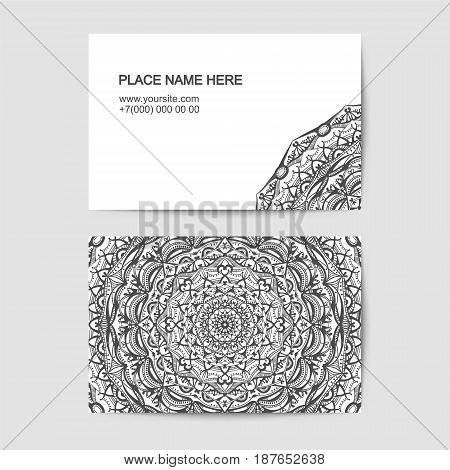 visit card template with lace pattern. Black in white