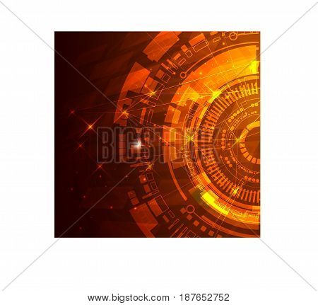 hud interface technology computer communication telecoms innovation concept template design. Scientific concept for your design. Vector illustration.