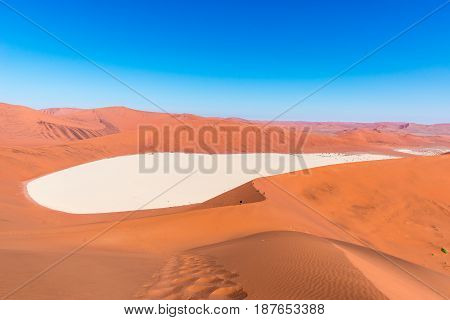 The Scenic Sossusvlei And Deadvlei, Clay And Salt Pan Surrounded By Majestic Sand Dunes. Namib Naukl