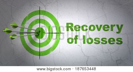 Success money concept: arrows hitting the center of target, Green Recovery Of losses on wall background, 3D rendering