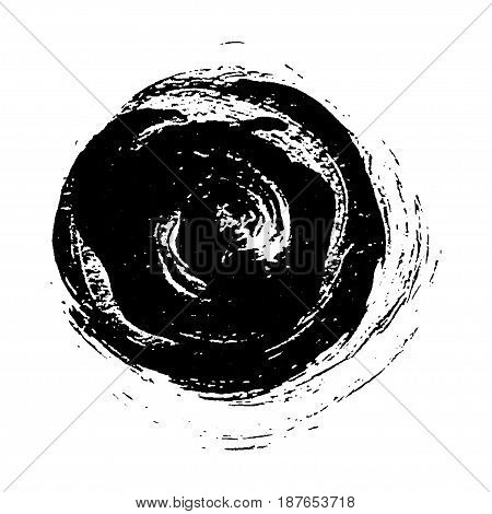 Black painted grunge circle. Vector design element