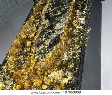 NIZHNY NOVGOROD, RUSSIA  May 20, 2017: Night of museums festival. Arsenal museum exhibit, a complex composition of rosin resins for soldering of elements in the shape of a boat hull. NIZHNY NOVGOROD