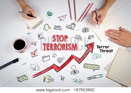Stop terrorism Concept. The meeting at the white office table.