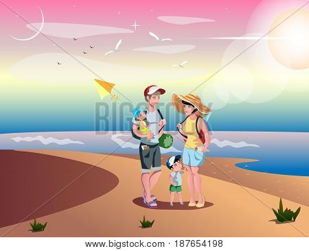 Cute cartoon family on beach father, mother, son and daughter