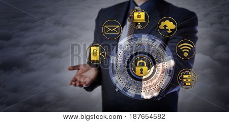Blue chip manager offering a virtual cyber security mechanism. Concept for computer security applications encryption restricted access protection of personal information IT security architecture.