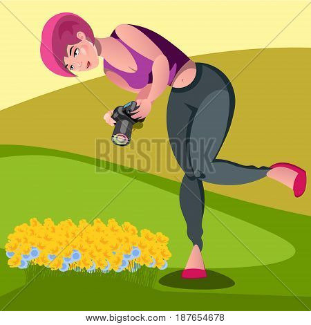 vector illustration of photographers take pictures of dandelion