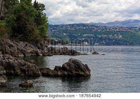 The Adriatic coast in Opatija in Croatia.