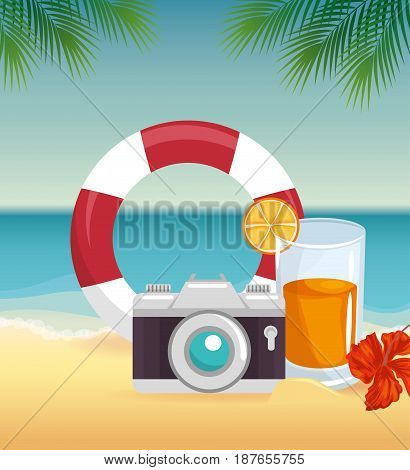 Camera, lifesaver and cocktail over beach landscape background with tropical flower and leaver. Vector illustration.