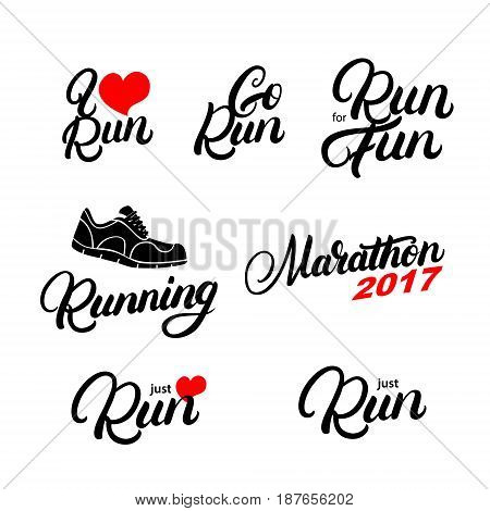 Set of running hand written lettering quotes. Run for fun. Marathon. Motivation phrases. Isolated on white background. Vector illustration.