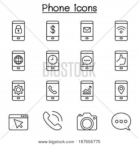 Smart Phone & Basic Application icon set in thin line style