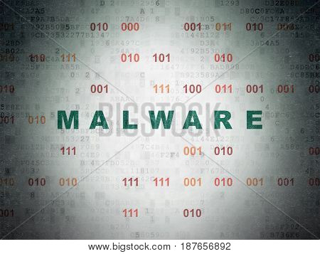 Safety concept: Painted green text Malware on Digital Data Paper background with Binary Code