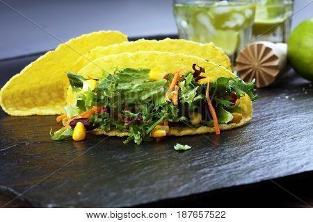 Three Mexican Salat Carnitas Tacos