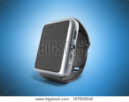 Digital Smart Watch Or Clock With Icons 3D Render On Blue