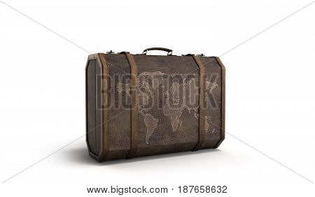 Vintage Travel Suitcase 3D Render On White Background
