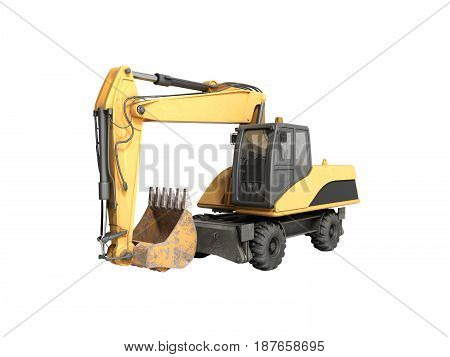 Yellow Wheels Bulldozer 3D Render On White No Shadow