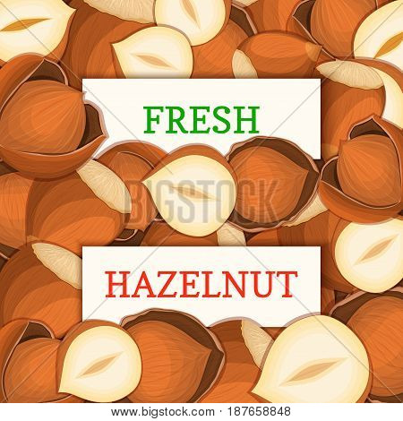 Two white rectangle label on hazelnut fruit background. Vector card illustration. Cartoon filbert. Nutty pattern walnut nut whole and slice for design of food packaging breakfast detox diet, vegan.