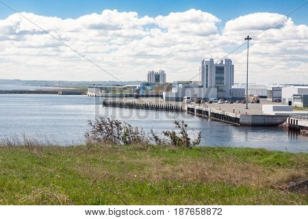 KRONSTADT RUSSIA - 21 MAY: The ship passes through a complex of protective constructions from floods RUSSIA - 21 MAY 2017. In St. Petersburg floods therefore they have constructed a protective complex are very frequent