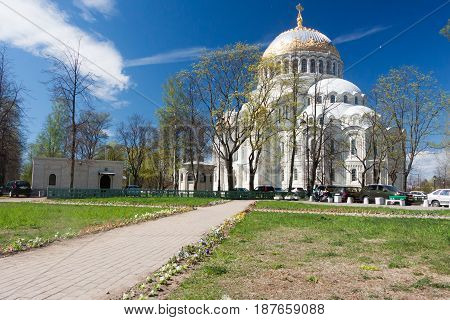 KRONSTADT RUSSIA - 21 MAY:Naval Cathedral of Saint Nicholas RUSSIA - 21 MAY 2017.Kronstadt-ancient city of Russia