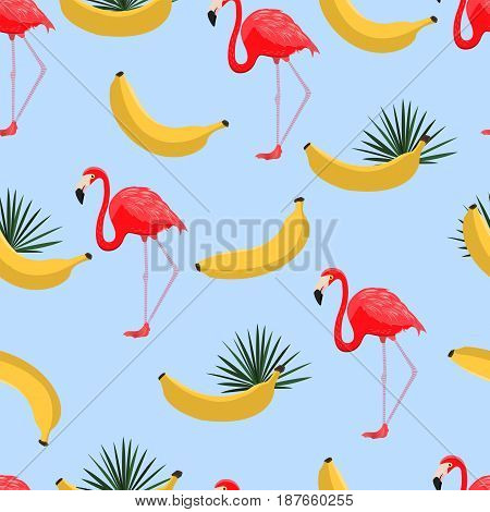 Seamless Pattern With Bananas And Tropical Leaves. Hawaiian Style Background With Jungle Tropical Pl