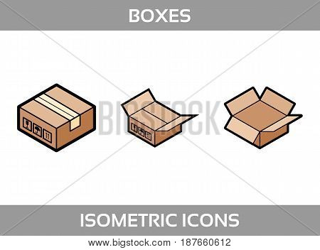 Simple Set ofIsometric packaging boxes Vector FlatIcons. Color flat isometric icons with thick strokes. Cardboard boxes