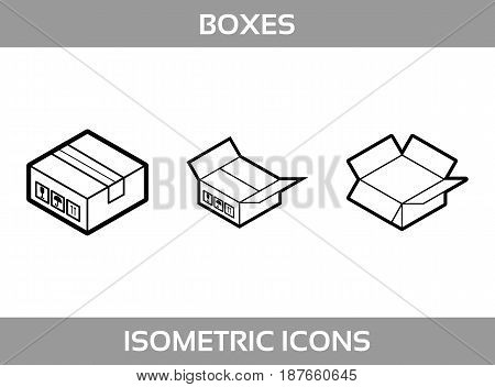 Simple Set of Isometric packaging boxes Vector Line art Icons. Black and white line art isometric icons with thick strokes. Cardboard boxes