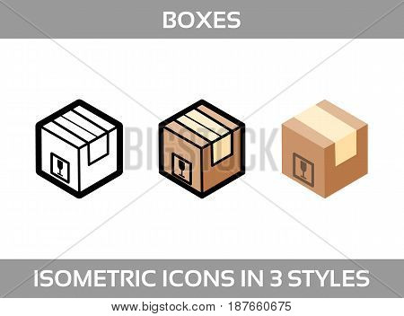 Simple Set ofIsometric packaging boxes Vector Icons in three styles: flat, line art and 3D. Cardboard boxes