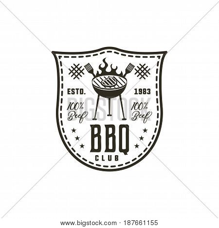 BBQ club label in monochrome style. Invitation to grill, barbeque event. Isolated on white background. Vintage black monochrome design. Stock Vector silhouette.
