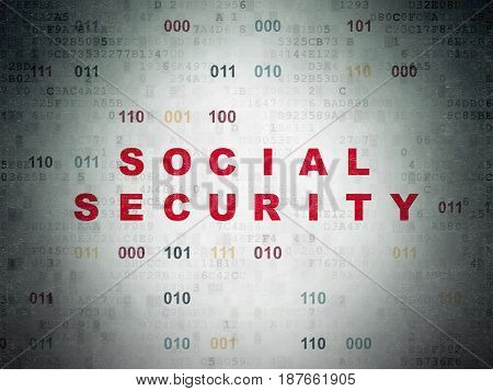Protection concept: Painted red text Social Security on Digital Data Paper background with Binary Code