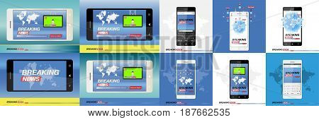 Breaking News on smartphone with background of the world map. Modern mobile TV. Vector illustration EPS 10.