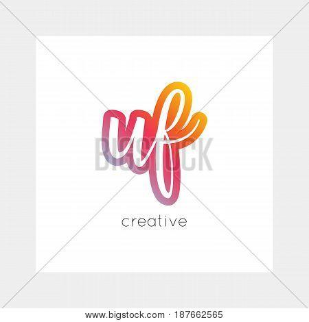 Uf Logo, Vector. Useful As Branding, App Icon, Alphabet Combination, Clip-art.