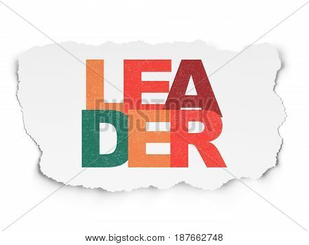 Finance concept: Painted multicolor text Leader on Torn Paper background
