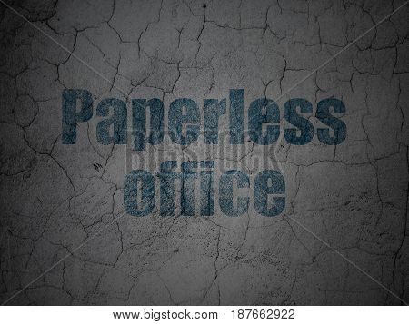 Business concept: Blue Paperless Office on grunge textured concrete wall background