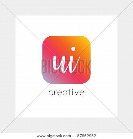 Ui Logo, Vector. Useful As Branding, App Icon, Alphabet Combination, Clip-art.