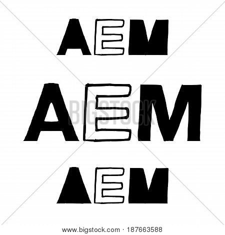 AEM - Isolated Hand Drawn Lettering Abbreviation for All Employee Meeting. Vector Illustration Quote. Handwritten Inscription Phrase for Office, Presentation, T-shirt Print, etc.