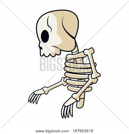 cartoon skeleton bones mystery fairy tale vector illustration
